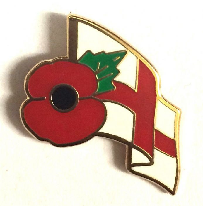 Poppy Badge with the St George Cross England Flag